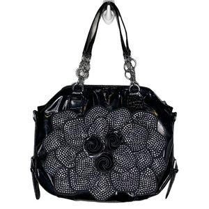 Mary Kay Crystal Flower Front Faux Leather Bag